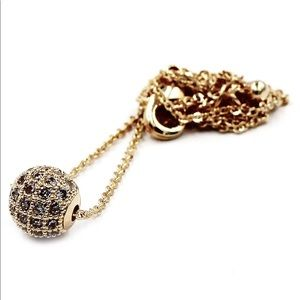 Lucky gold small crystal ball clavicle necklace